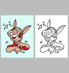 rabbit hearing music cartoon character vector image vector image