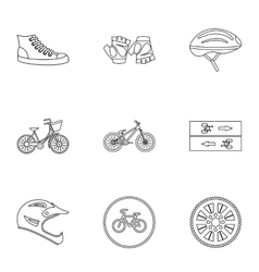 Race cycling icons set outline style vector