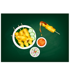 Satay or Meat Barbecue Served with Peanut Sauce vector image