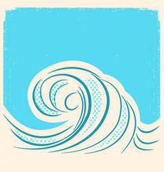 sea wave retro water wave background vector image