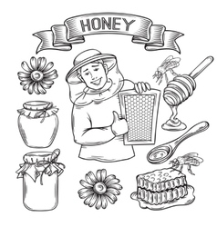 Set hand drawn icon honey vector image