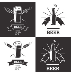 Set of beer insignia logos with glassware isolated vector