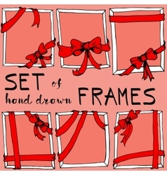 Set of red frames with bows vector image