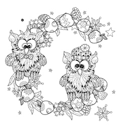 Small owls on tree branch - hand drawn doodle vector