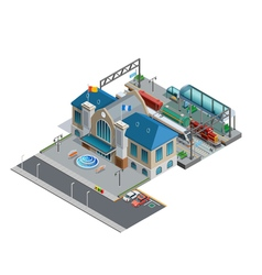 Train Station Isometric Miniature vector image vector image