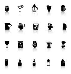 Variety drink icons with reflect on white vector image