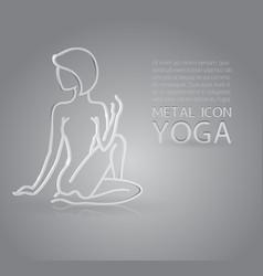 Yoga metal icon vector