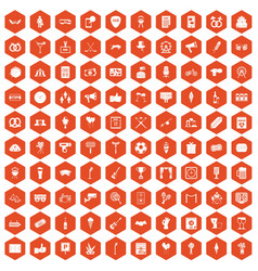 100 events icons hexagon orange vector