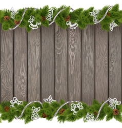 Christmas old board with white decorations vector