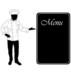 Kitchen chef offers dinning menu vector