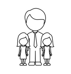Silhouette man her girls twins icon vector