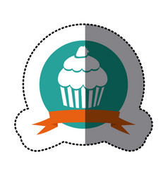 Emblem muffin with strawberry icon vector