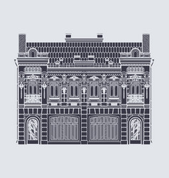 Drawing two-storey house in baroque style vector