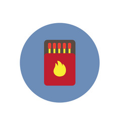 stylish icon in circle matchbox and matches vector image