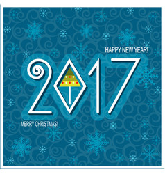 Merry christmas and happy new year card blue vector