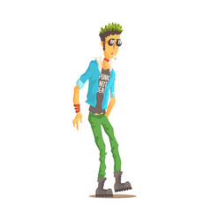 Punk man with green hair dressed in punks style vector
