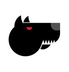 Doberman logo angry dog emblem aggressive pet vector