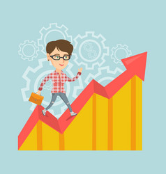 Happy business manager standing on profit chart vector
