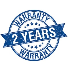 2 years warranty grunge retro blue isolated ribbon vector