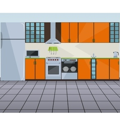 Modern orange kitchen interior vector