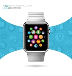 Smart watch with stainless wristband vector