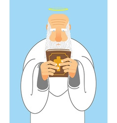 God and bible old man with beard holds holy bible vector
