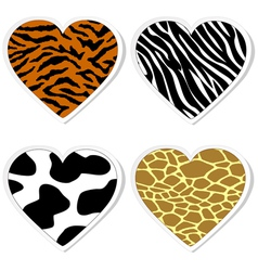 Animal print heart stickers vector image