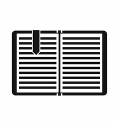 Open book with a bookmark icon simple style vector