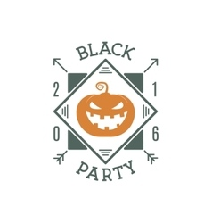 Happy halloween 2016 black party invitation label vector