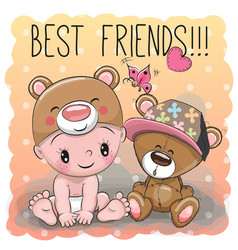 baby in a bear hat and teddy bear vector image vector image