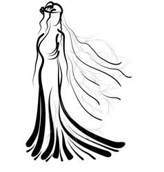 Bride silhouette vector