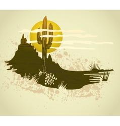 Cactus saguaro grunge background card vector