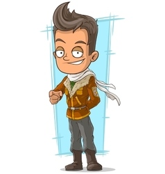 Cartoon cool pilot in leather jacket vector image