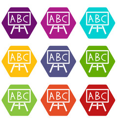 Chalkboard with the leters abc icon set color vector