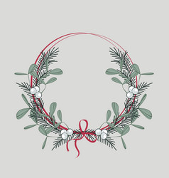 christmas wreath with branches and mistletoe vector image vector image