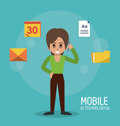 Color poster of mobile technology with woman stand vector