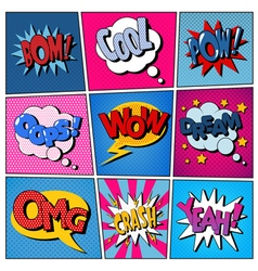 Comic bubbles set expressions pop art vector