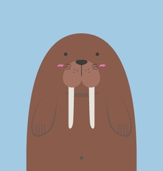Cute big fat walrus vector