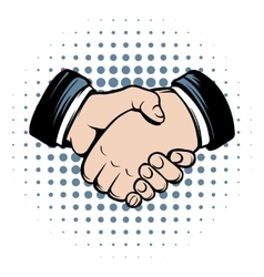 Handshake comics icon vector