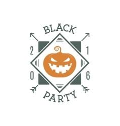 Happy halloween 2016 black party invitation label vector