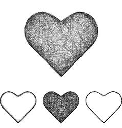 Heart icon set - sketch line art vector image