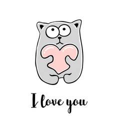 I love you hand drawn greeting card vector