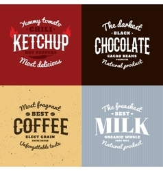 Isolated ketchupchocolatecoffeemilk logo vector