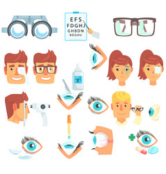 ophthalmologist diagnostic set treatment and vector image