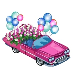 Pink cabriolet with bouquet flowers and balloons vector image