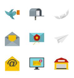 Postal icons set flat style vector