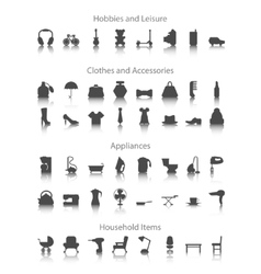 Set icons fo hobbies leisure household clothes vector image