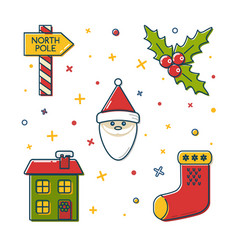 set of colored christmas icons in thin line style vector image vector image