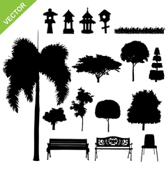 Silhouette tree and garden vector