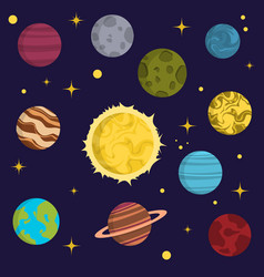 solar system space planets galaxy earth universe vector image